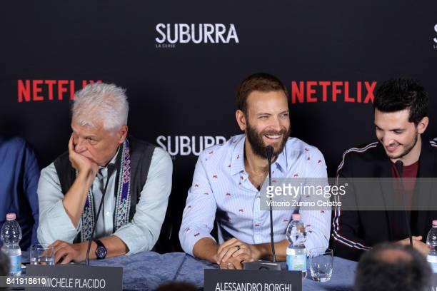 Michele PlacidoAlessandro Borghi and Giacomo Ferrara attend the 'Suburra The Series' press conference during the 74th Venice Film Festival at Sala...