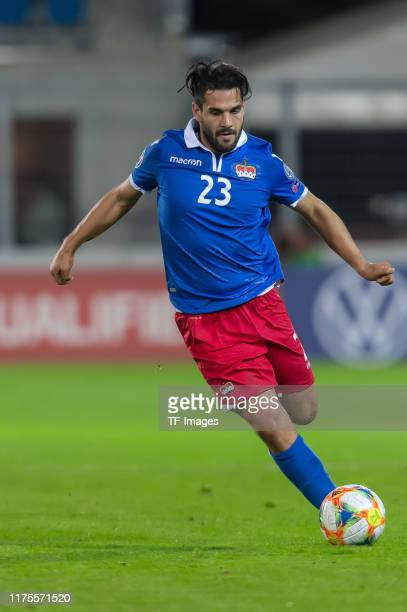 Michele Polverino of Liechtenstein controls the ball during the UEFA Euro 2020 qualifier between Liechtenstein and Armenia on October 12, 2019 in...