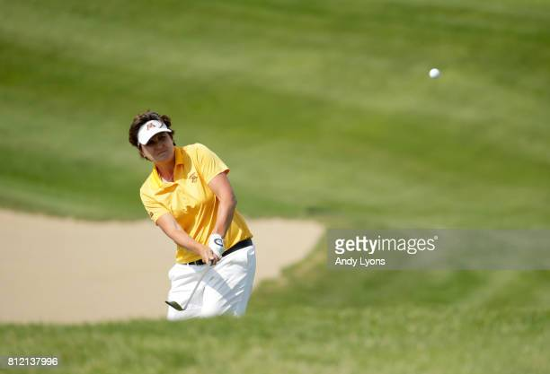 Michele Redman hits her third shot on the 17th hole during round one of the Senior LPGA Championship on July 10 2017 on The Pete Dye Course in French...