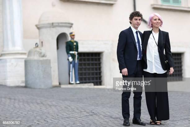 Michele Riondino and Eva Nestori arrive at the 61 David Di Donatello nominees presentation at Palazzo del Quirinale on March 27 2017 in Rome Italy
