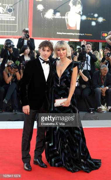 Michele Riondino and Eva Nestori walk the red carpet ahead of the Award Ceremony during the 75th Venice Film Festival at Sala Grande on September 8,...