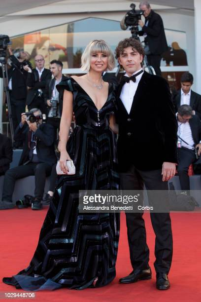 Michele Riondino and girlfriend Eva Nestori walk the red carpet ahead of the Award Ceremony during the 75th Venice Film Festival at Sala Grande on...