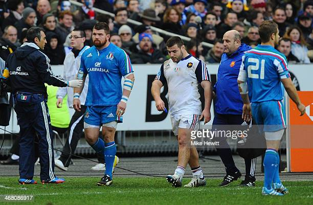 Michele Rizzo of Italy and Rabah Slimani of France are sent off during the RBS Six Nations match between France and Italy at Stade de France on...