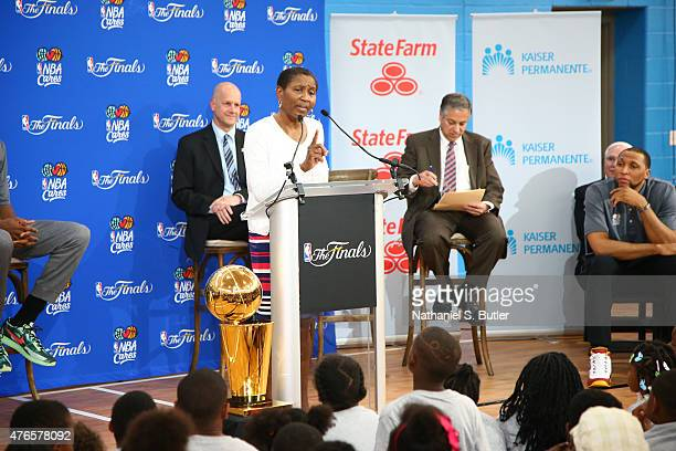 Michele Roberts, executive Director of the NBPA speaks at the 2015 NBA Finals Cares Legacy Event as part of the 2015 NBA Finals on June 10, 2015 at...