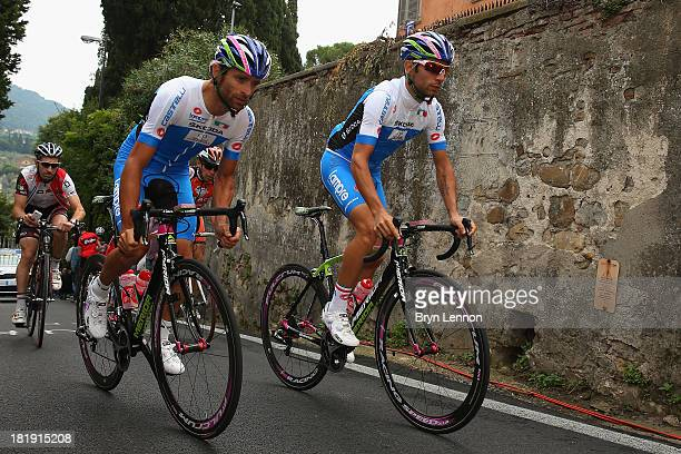 Michele Scarponi and Diego Ulissi of Italy in action during training on day five of the UCI Road World Championships on September 26 2013 in Florence...