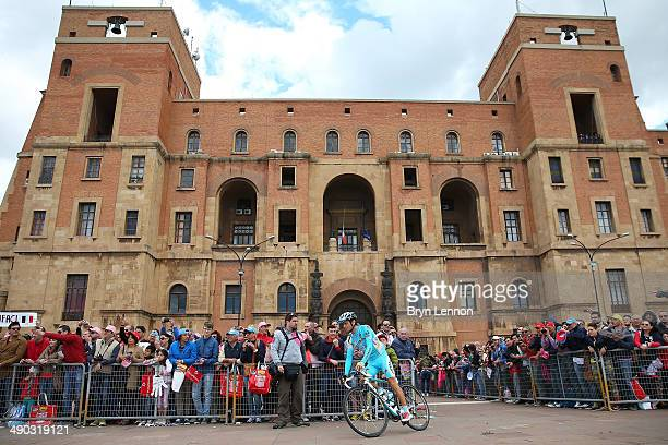 Michele Scarponi of Italy and Astana makes his way to the start area ahead of the fifth stage of the 2014 Giro d'Italia a 203km medium mountain stage...