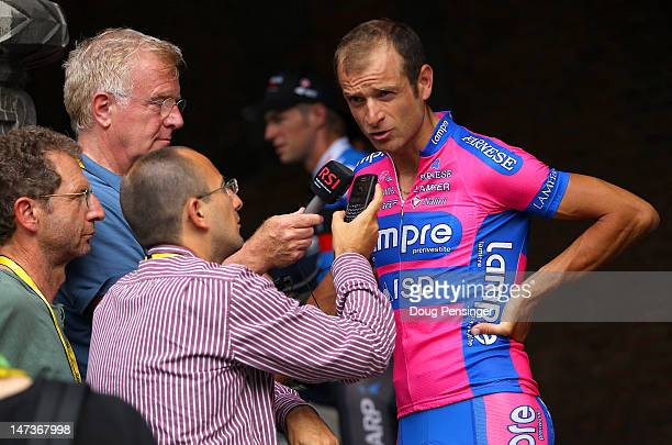 Michele Scarponi of Italy riding for LampreISD talk tot he media after team presentation prior to the 2012 Tour de France on June 28 2012 in Liege...