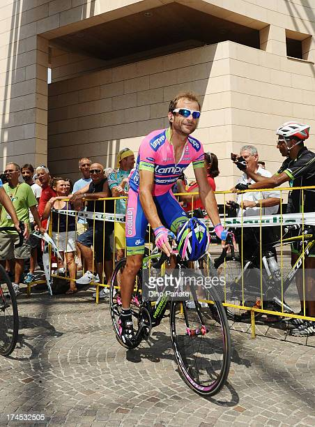 Michele Scarponi of Lampre teams atteds prior the start stage one the 2013 Tour de Pologne on July 27 2013 in Madonna di Campiglio Italy
