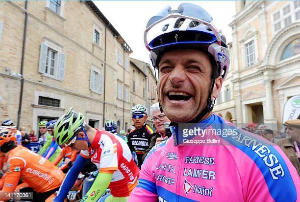 Michele Scarponi of Team LampreISD laughs ahead of stage six of the 2012 TirrenoAdriatico on March 12 2012 in Offida near Ascoli Piceno Italy