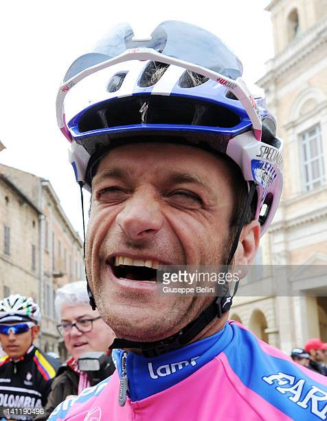 Michele Scarponi of Team LampreISD laughs ahead of stage six of the 2012 TirrenoAdriatico on March 12 2012 in Offida near Ascoli Piceno Italy