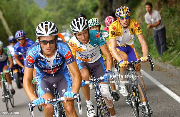 Michele Scarponi , Roberto Heras and Denis Menchov during stage 14 of the 2005 Tour of Spain between Nestle and Lagos de Covadonga.
