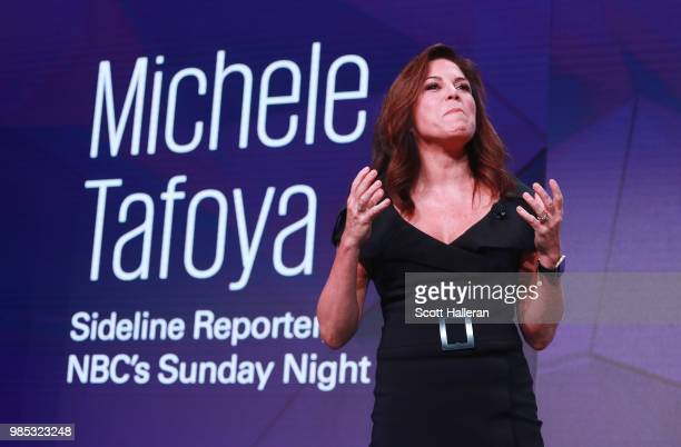 Michele Tafoya of NBC Sports speaks on stage during the KPMG Women's Leadership Summit prior to the start of the KPMG Women's PGA Championship at...