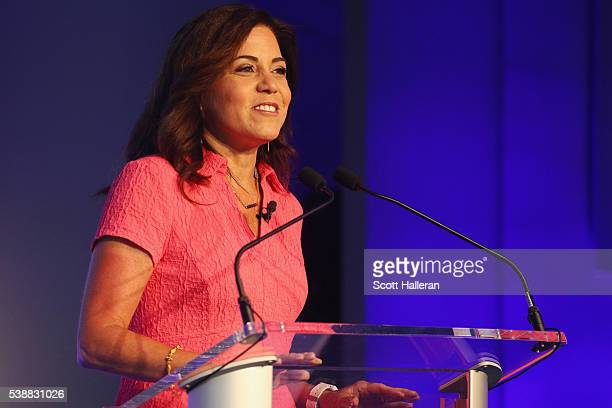 Michele Tafoya speaks during the KPMG Women's Leadership Summit prior to the start of the KPMG Women's PGA Championship at the Sahalee Country Club...