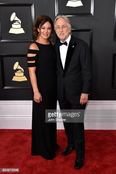 Michele Tebbe and President/CEO of The Recording Academy and GRAMMY Foundation President/CEO Neil Portnow attends The 59th GRAMMY Awards at STAPLES...