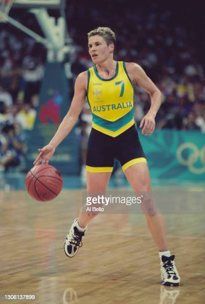Michele Timms, Point Guard for Australia dribbles the basketball during the semi final game of the Women's Olympic Basketball Tournament against the...
