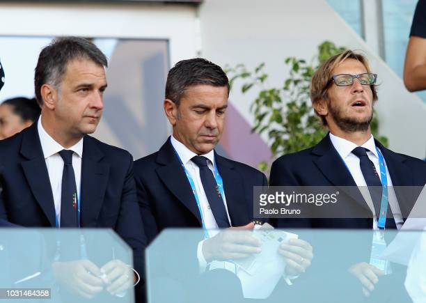 Michele Uva General Director of FIGC Alessandro Costacurta Commissioner of FIGC and Massimo Ambrosini team Manager of Italy U21 look on during the...