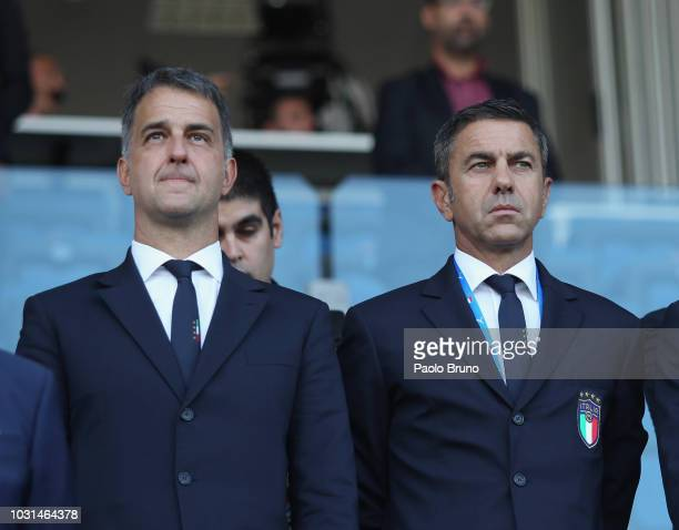 Michele Uva General Director of FIGC Alessandro Costacurta Commissioner of FIGC of Italy U21 look on during the International Friendly match between...