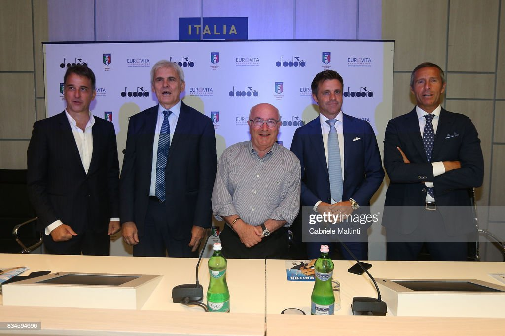 Michele Uva general manager of FIGC , Marcello Nicchi president of AIA , Carlo Tavecchio president of FIGC Nicola Rizzoli and Emidio Morganti of AIA at Coverciano on August 18, 2017 in Florence, Italy.