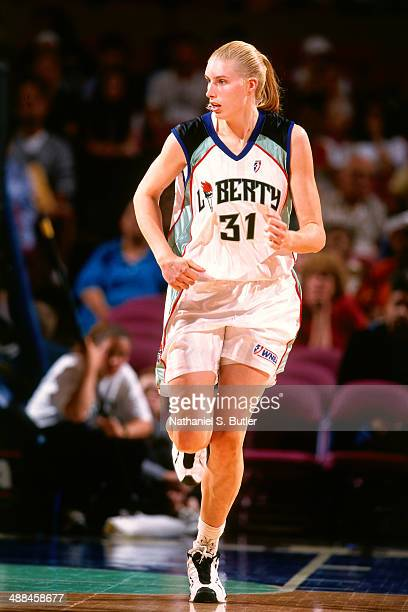 Michele Van Gorp of the New York Liberty runs back on defense against the Houston Comets on May 2 1999 at Madison Square Garden in New York City NOTE...