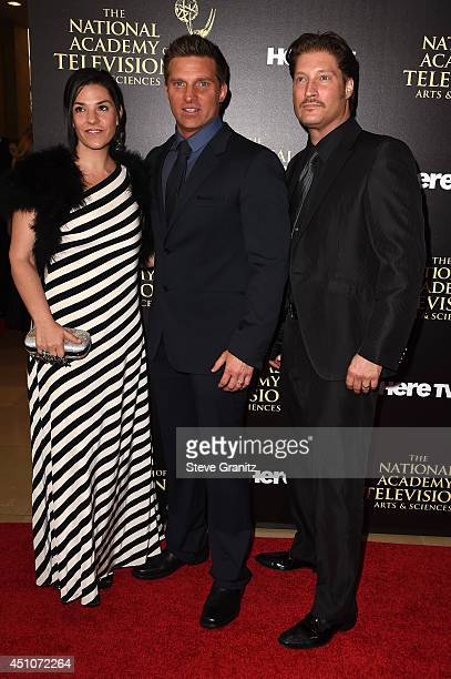 Michele Vega and actors Steve Burton and Sean Kanan attend The 41st Annual Daytime Emmy Awards at The Beverly Hilton Hotel on June 22 2014 in Beverly...