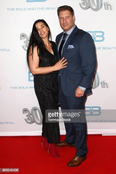 Michele Vega and Sean Kanan attend the CBS's The Bold And The Beautiful 30th Anniversary Party at Clifton's Cafeteria on March 18 2017 in Los Angeles...
