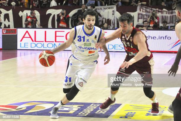 Michele Vitali of Germani competes with Bruno Cerella of Umana during the LBA Legabasket of Serie A match between Reyer Umana Venezia and Leonessa...