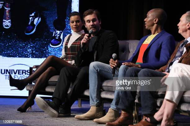 Michele Weaver Clive Standen J August Richards and Michael O'Neill attend SCAD aTVfest 2020 Council Of Dads on February 28 2020 in Atlanta Georgia