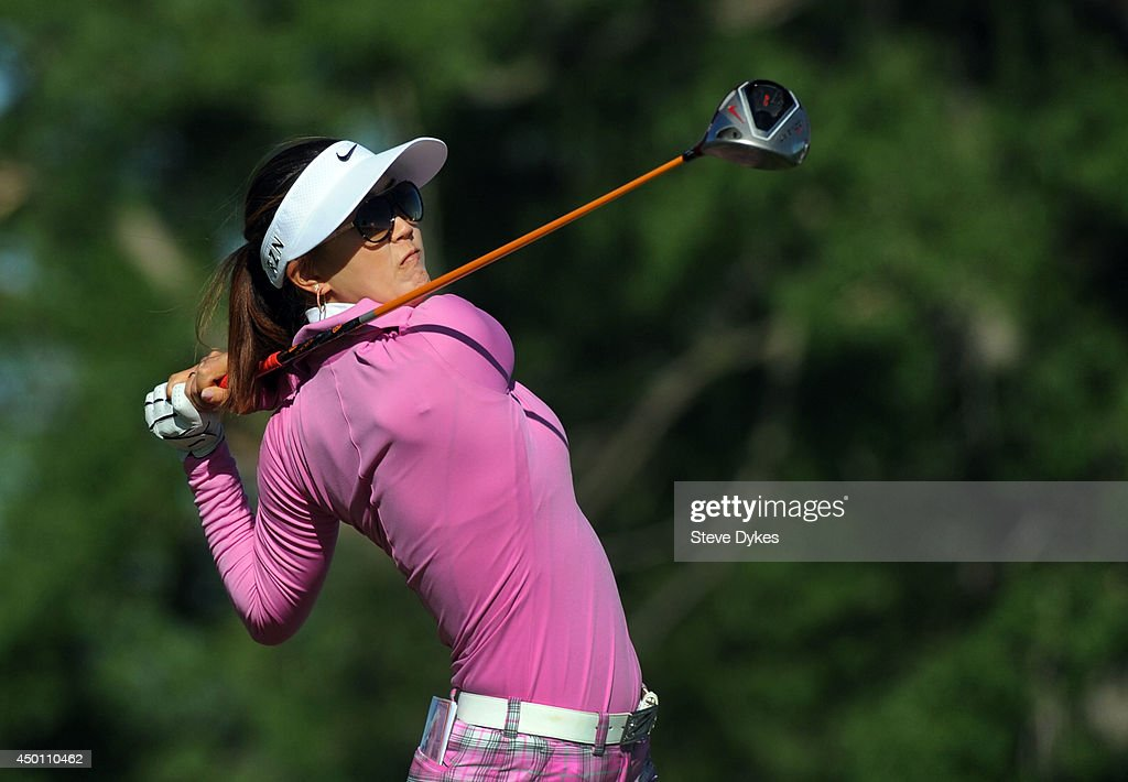 Michele Wie hits her drive on the fifth hole during the first round of the Manulife Financial LPGA Classic at the Grey Silo Golf Course on June 5, 2014 in Waterloo, Ontario, Canada.