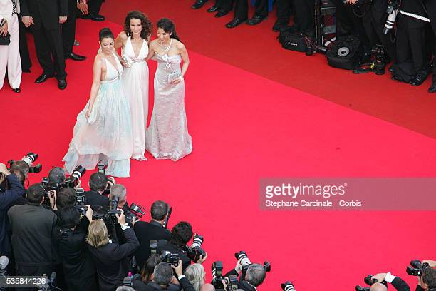 Michele Yeoh Andie MacDowell and Gong Li arrive at the premiere of 'Chacun Son Cinema' during the 60th Cannes Film Festival
