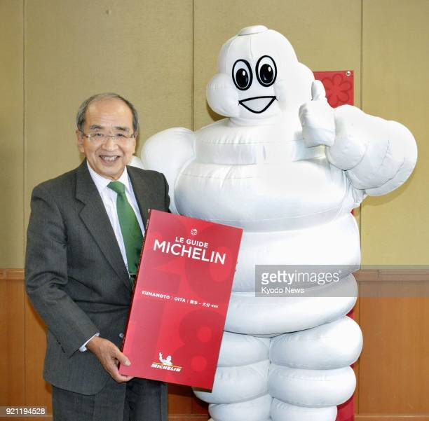Michelin Man visits Oita Gov Katsusada Hirose at the prefectural government hall in southwestern Japan on Feb 20 as the French tire company said the...