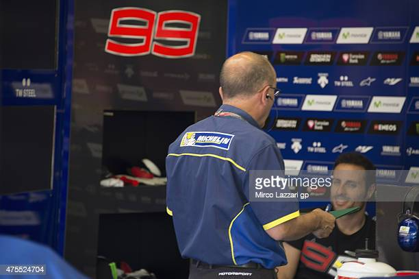Michelin staff speak in box during the Michelin tires test during the MotoGp Tests At Mugello at Mugello Circuit on June 1 2015 in Scarperia Italy