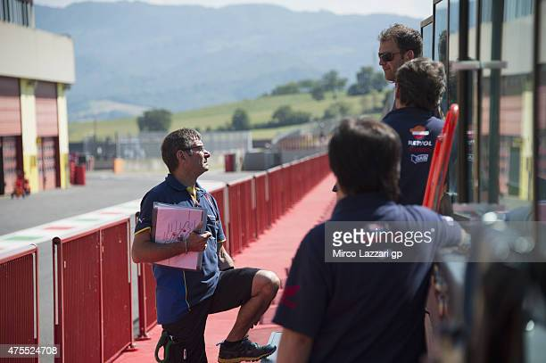 Michelin staff speak in pit during the Michelin tires test during the MotoGp Tests At Mugello at Mugello Circuit on June 1 2015 in Scarperia Italy