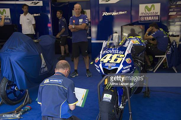 Michelin staff work in box during the Michelin tires test during the MotoGp Tests At Mugello at Mugello Circuit on June 1 2015 in Scarperia Italy