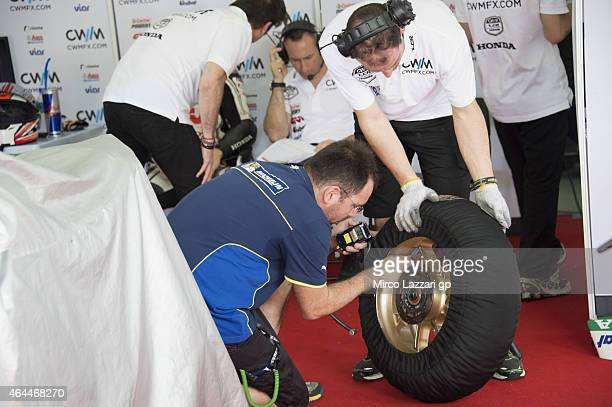 Michelin staff working in box during the Michelin test tyres during MotoGP Tests in Sepang Day Four at Sepang Circuit on February 26 2015 in Kuala...