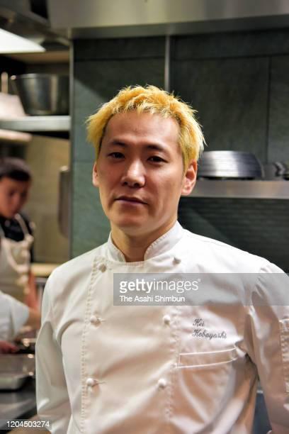 Michelin ThreeStar chef Kei Kobayashi poses for photographs during the Asahi Shimbun interview at his restaurant 'Kei' on February 5 2020 in Paris...