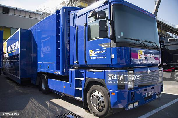 Michelin truck parks in paddock during the Michelin tires test during the MotoGp Tests At Mugello at Mugello Circuit on June 1 2015 in Scarperia Italy