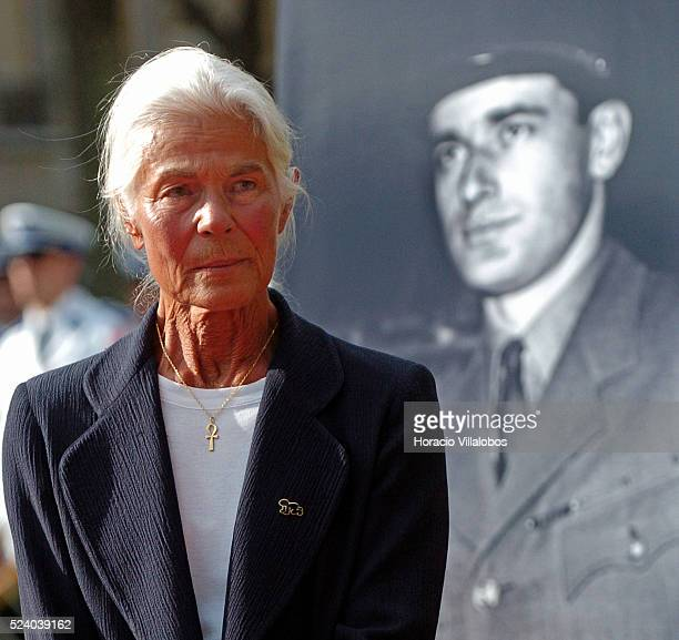 Micheline ChabanDelmas third wife of Jacques Chaban Delmas stands before a portrait of the French general at the esplanade that was named after him...