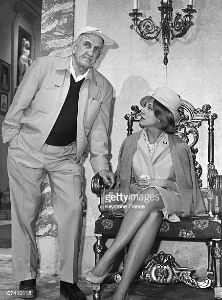 Micheline Presle And Director George Marshall During The Set Of The Movie Dark Purpose In Rome In 19630401