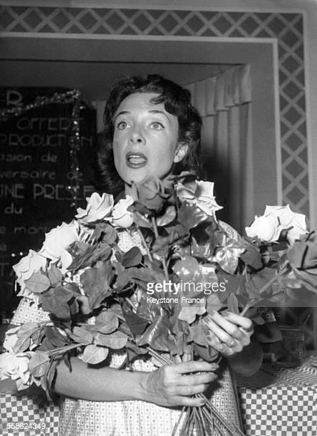 Micheline Presle pendant le tournage du film 'Treize à table' réalisé par André Hunebelle le 23 août 1955 en France.