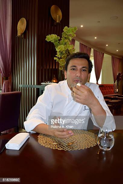 Michelinstarred Indian chef Vikas Khanna enjoys a Table Side Kulfi prepared with liquid nitrogen at his restaurant Junoon at the ShangriLa hotel on...