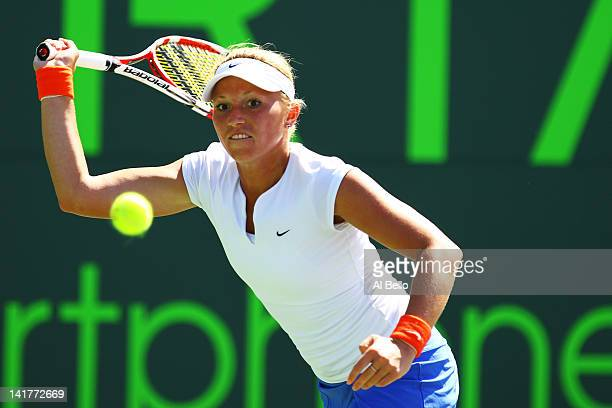 Michella Krajicek of The Netherlands in action against Victoria Azarenka of Belarus during Day 5 at Crandon Park Tennis Center at the Sony Ericsson...