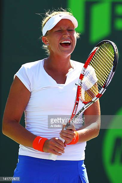 Michella Krajicek of The Netherlands reacts to a lost point against Victoria Azarenka of Belarus during Day 5 at Crandon Park Tennis Center at the...