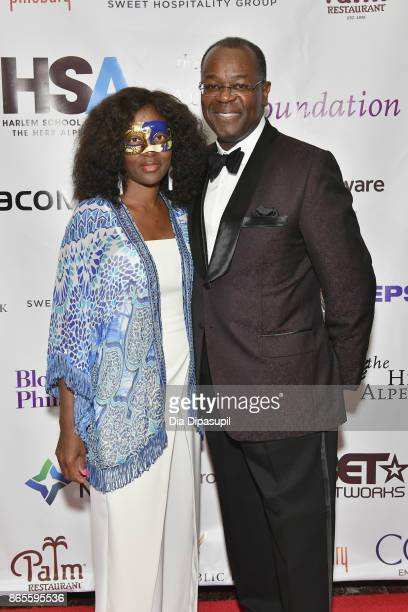Michelle Adkins and Rodney Adkins attend HSA Masquerade Ball on October 23 2017 at The Plaza Hotel in New York City