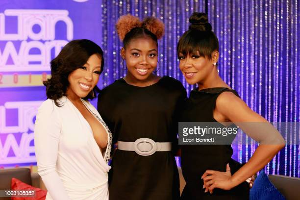 K Michelle Alijah Kai Haggins and Tichina Arnold attend the Post Show for the 2018 Soul Train Awards presented by BET at the Orleans Arena on...