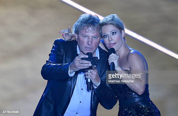 Michelle and Bernhard Brink perform during the open air tv show 'Schlager des Sommers' at Wasserschloss Klaffenbach on June 18 2015 in Chemnitz...