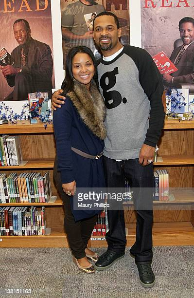 Michelle and Mike Epps attend the Michael and Mechelle Epps Foundation Media Day at the Crispus Attucks Medical Magnet High School on February 3 2012...
