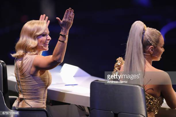 Michelle and Shirin David during the finals of the tv competition 'Deutschland sucht den Superstar' at Coloneum on May 6 2017 in Cologne Germany
