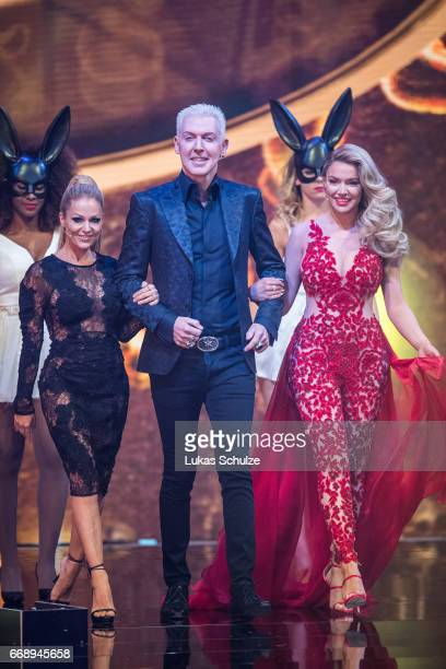 Michelle and Shirin members of the jury arrive during the second event show of the tv competition 'Deutschland sucht den Superstar' at Coloneum on...
