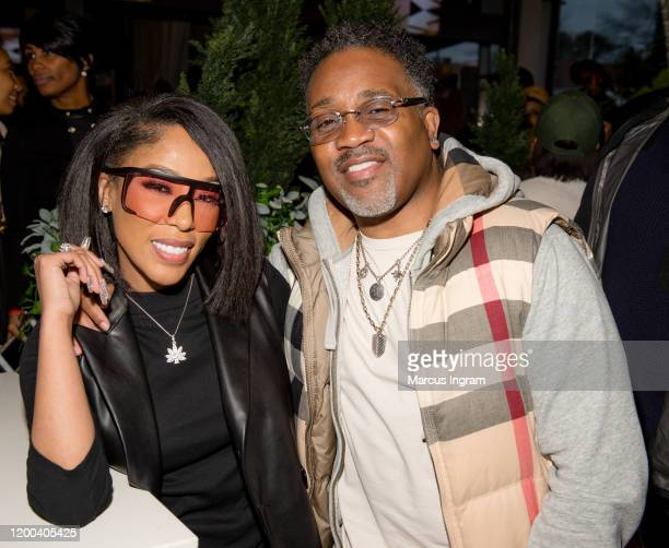 Michelle and Troy Taylor attend the Pearl Meets Puff & Petals Pop Up at Garden Parc on January 18, 2020 in Atlanta, Georgia.