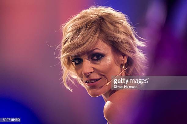 Michelle attends the second event show of the tv competition 'Deutschland sucht den Superstar' at Eberbach Abbey on April 20 2016 in Eltville Germany